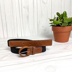 Vintage Leather and Elastic Brown and Black Belt